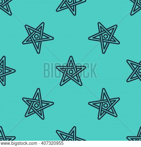 Black Line Pentagram Icon Isolated Seamless Pattern On Green Background. Magic Occult Star Symbol. V