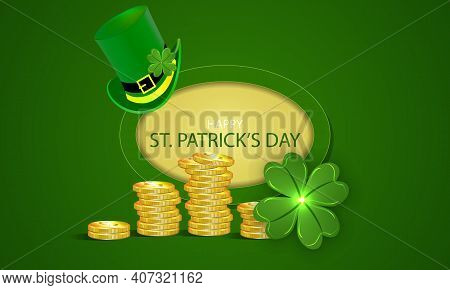 Banner With Elf Hat Clover And Gold For Patricks Day, Vector Art Illustration.