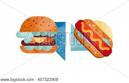 Classic Burger And Hot Dog With Mustard Set, Appetizing Fresh Fast Food Dishes Flat Vector Illustrat