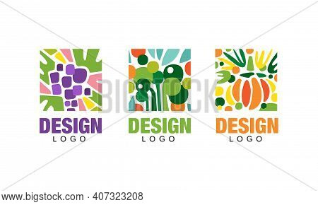 Set Of Logo Design With Fresh Fruits, Vegetarian Food Templates, Packaging Labels, Banner, Poster, A