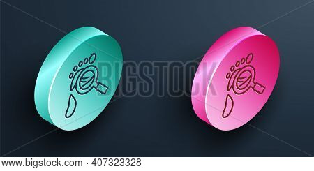 Isometric Line Magnifying Glass With Footsteps Icon Isolated On Black Background. Detective Is Inves