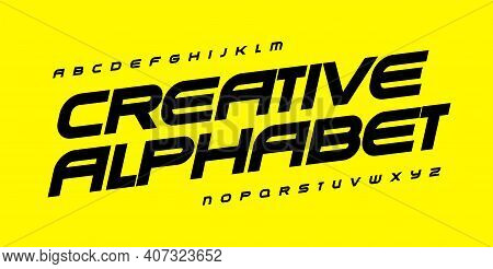 Creative Alphabet For Automotive, Sport, Gym And Fitness. Geometric Font, Wide Bold Italic Type For
