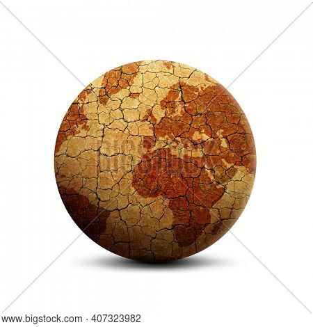 Parched planet earth isolated on a white background. Global warming or change climate concept. Environmental problems.