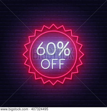 60 Percent Off Neon Badge. Discount Lighting Sign On A Dark Background.
