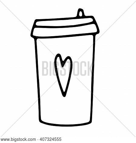 Doodle Coffee To Go Cup. Cute Hot Beverage Isolated On White Background. Outline Tea, Latte, Cappucc