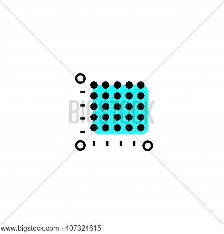 Icon Plot Area In Acres, Square Metres, Kilometres. Vector Dimension Area Size Pictogram