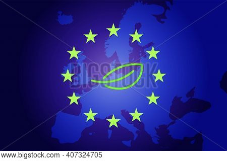 Green Leaf And Eu Map And Flag Background. Vector Eco Concept
