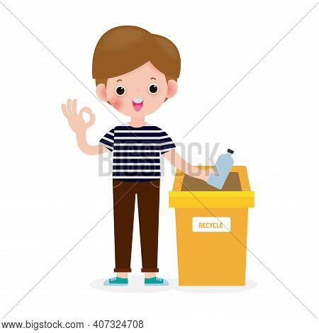 Children Rubbish For Recycling Concept, Kids Segregating Trash, Recycling Trash, Save The World, Mal