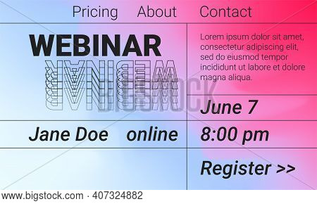 Online Webinar Landing Page. Abstract Conference Poster. Bright Gradient Colors For Workshop Or Semi