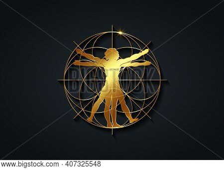 Sacred Geometry Gold Symbol. The Vitruvian Man, Golden Vector Sign  Isolated On Black Background