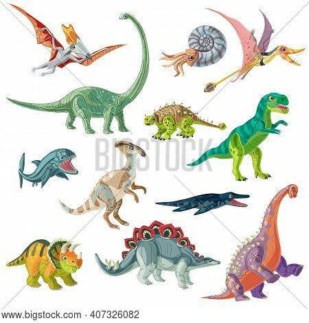 Jurassic Period Animals Set With Pterodactyl Tyrannosaurus And Brachiosaurus Ancient Conch And Giant