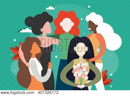 Group Of Feminists, Diverse Women Hugging Together, Flat Vector Illustration. Feminism, Women Empowe
