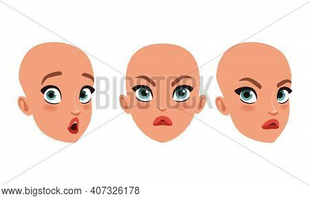 Hairless Head Of Beautiful Girl, Pretty Young Woman Character Creation Detail, Female Person Avatar