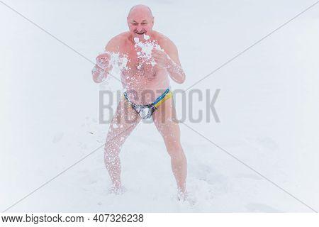 Senior Man 50 - 60+ On A Snow , Improvement And Strengthening Of The Immune System, Health Improveme