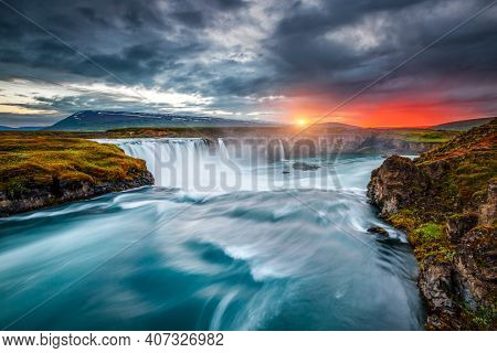 Breathtaking view of the grand Godafoss cascade. Location place Bardardalur valley, Skjalfandafljot river, Iceland, Europe. Image of most popular world landmarks. Discover the world of beauty.