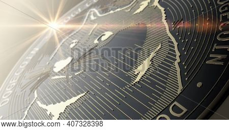 A Closeup Of A Physical Dogecoin Cryptocurrency In Gold And Silver Coin Form On A Dark Studio Backgr