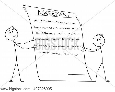 Two Men Or Businessmen Holding Holding Contract Or Agreement To Sign, Vector Cartoon Stick Figure Or