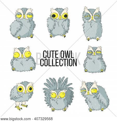 Owls Illustration Set. Collection With Cute Owls With Various Emotion In Hand Drawn Cartoons Style.