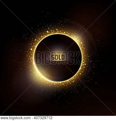 Gold Circle Of Shiny Particles On A Black Background. Shining Gold Frame, Place For Text. Celebratio