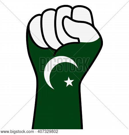 Raised Fist Pakistan Flag. Pakistani Hand. Fist Shape Pakistan Flag Color. Patriotic Demonstration,