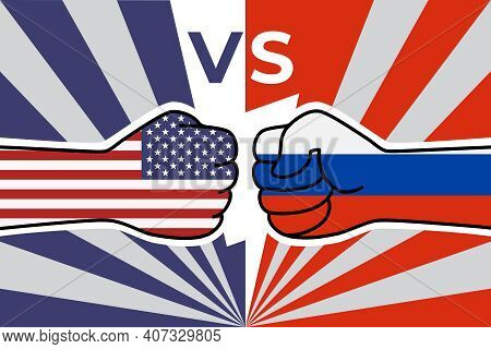 Cold War Of The Usa And Russia. Us Flag Fist Vs Russian Flag Fist. American Russian Military Confron