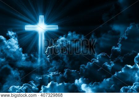 Background For Card Happy Easter. Dark Sky With Cross, Cloud. Concept Of Christian Religion Shining