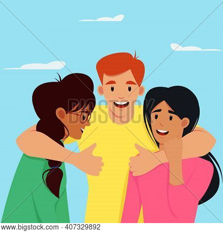 Colorful International Friendship Day. Vector Holiday Illustration. A Group Of People Including A Wo