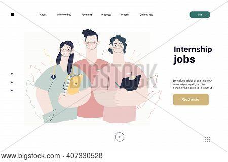 Medical Insurance -internship Jobs -modern Flat Vector Concept Digital Illustration - Young Medical