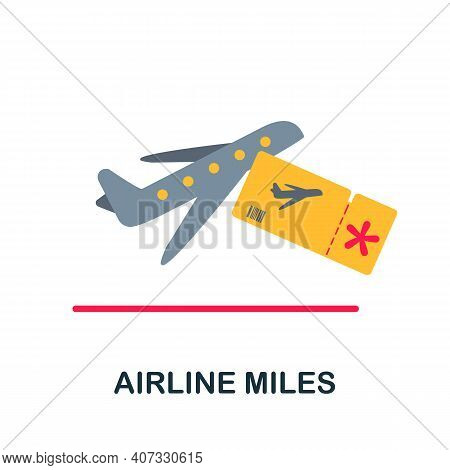 Airline Miles Flat Icon. Color Simple Element From Customer Loyalty Collection. Creative Airline Mil