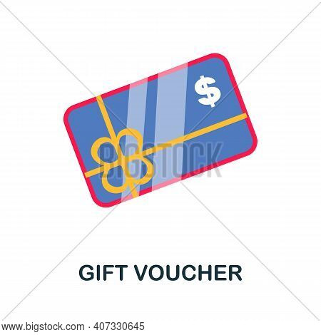 Gift Voucher Flat Icon. Color Simple Element From Customer Loyalty Collection. Creative Gift Voucher