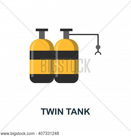 Twin Tank Flat Icon. Color Simple Element From Diving Collection. Creative Twin Tank Icon For Web De