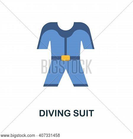 Diving Suit Flat Icon. Color Simple Element From Diving Collection. Creative Diving Suit Icon For We