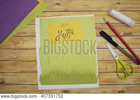 How To Make A Diy Easter Card From Cardboard, Step 3, Step By Step Instruction. Making Of Handmade E