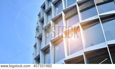 Modern Office Block With Sunny Beautiful Sky. Bright Outlook For Business.