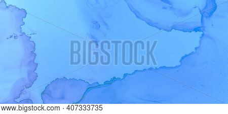 Pastel Flow Water. Blue Watercolour Background. Modern Ink Stains Marble. Creative Ink Stains Patter
