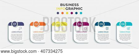 Minimal Business Infographics Template. Timeline With 6 Steps, Options And Marketing Icons