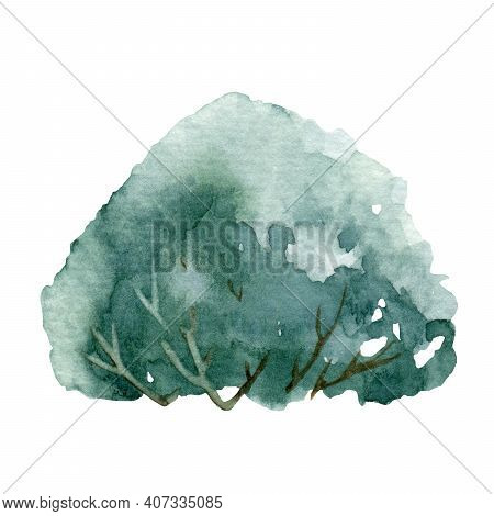 Green Bush Watercolor Illustration. Natural Forest, Wood Or Garden Botanical Plant. Hand Drawn Leafy