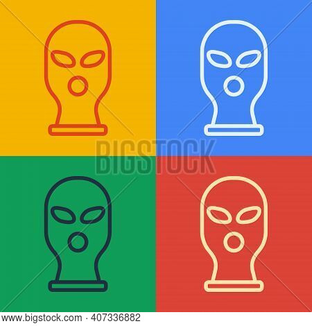 Pop Art Line Balaclava Icon Isolated On Color Background. A Piece Of Clothing For Winter Sports Or A