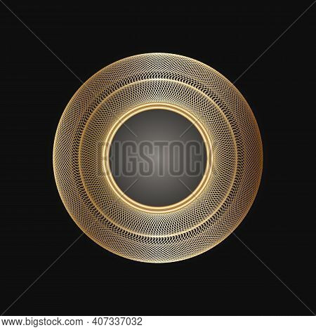 Golden Frame With Lace Ornament In Circle On Black Background. Art Deco. Luxury Gold Round Mandala,