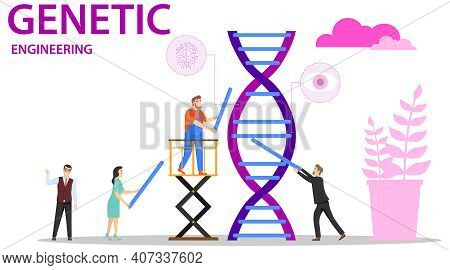 Genetics, A Group Of Human Characters Collects The Genetic Code. Vector Illustration. Vector.