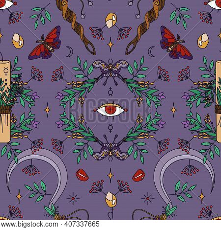 Seamless Wicca Pattern With Candles, Sickles, Twigs And Moths. Herbal Healing And Shamanism - Esoter