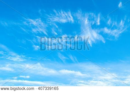 Blue sky background. Sky landscape. Sky background. Dramatic blue sky background, vast sky landscape panoramic scene, sunny sky landscape view. Blue sky background, vast sky landscape, sky scene with dramatic clouds.