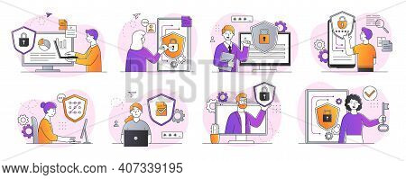 Collection Of Digital Data Protection Abstract Designs. Including Cyber Security, Data Center, Right