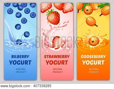 Cartoon Natural Milky Products Vertical Banners With Bilberry Strawberry And Gooseberry Falling Into