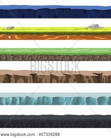 Seamless Grounds Set With Different Types Of Soil And Land For Ui Game Design Vector Illustration