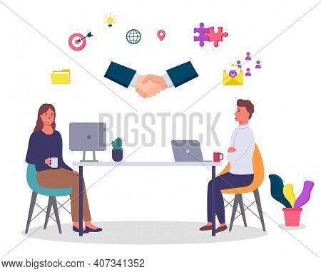 Collaboration Of Partners, Successful Deal, Office Workers Sitting At Table Working With Laptop And