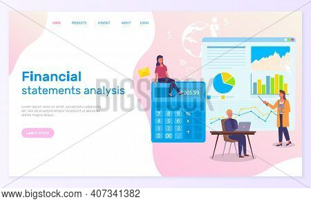 Financial Statements Analysis Landing Page Template. Accounting Finance, Counting Profit And Calcula
