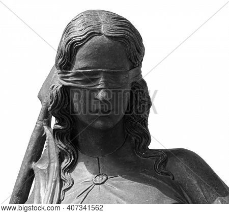 Lady justice or Themis Symbol of justice isolated on white background. Close-up of lady justice statue with blindfold