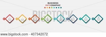 Business Infographic Design Template Vector With Icons And 8 Eight Options Or Steps.