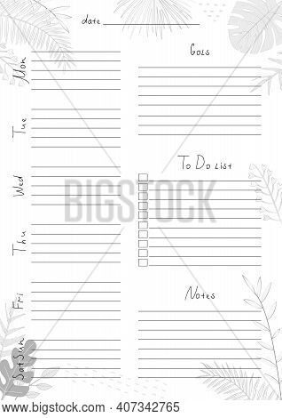 Printable A4 Paper Sheet With Weekly Planner Blank To Fill On Background With Tropical Leaves. Minim